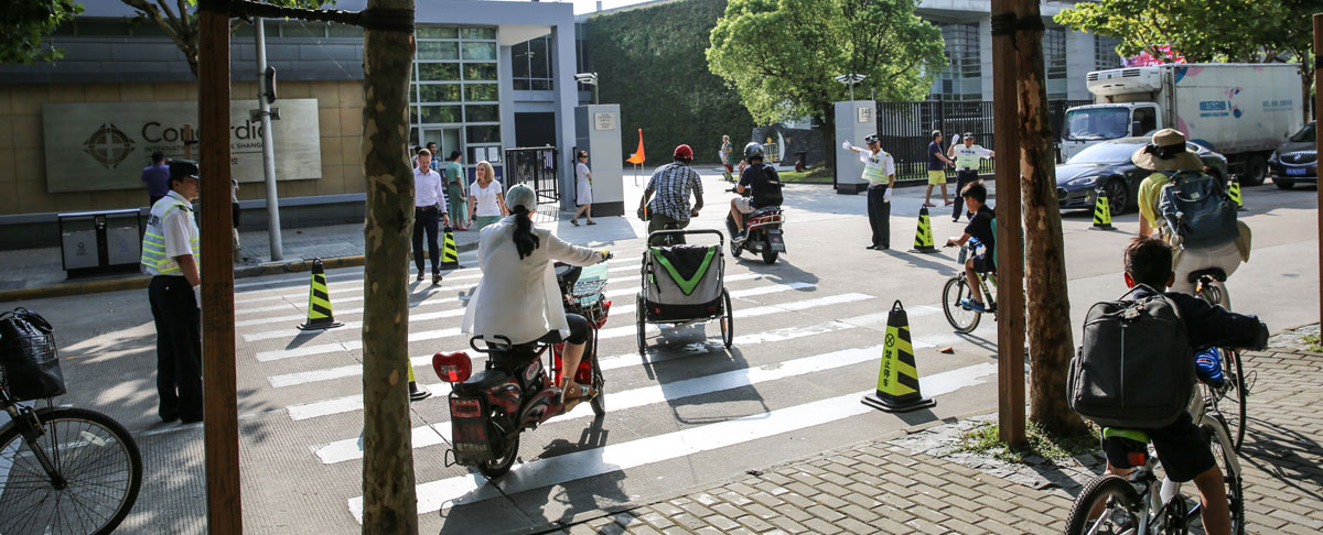 safety and bike crossing system at concordia shanghai international school